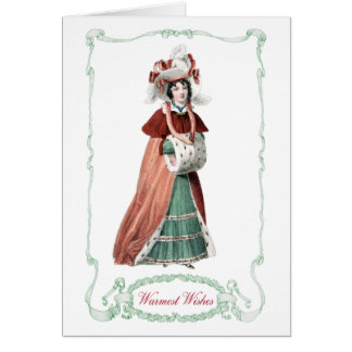 Regency Fashion Plate Christmas Card Antique Print