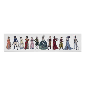 Regency Historical Fashion - Long 20x4.5 Poster