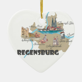 Regensburg Germany map Ceramic Ornament