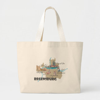 Regensburg Germany map Large Tote Bag