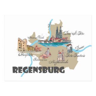 Regensburg Germany map Postcard