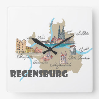 Regensburg Germany map Square Wall Clock