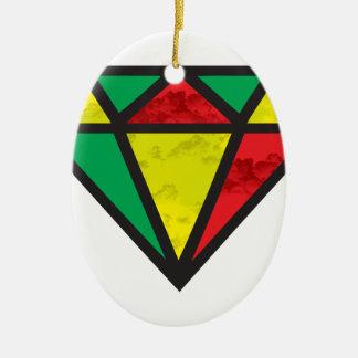Reggae Diamond Ceramic Oval Ornament