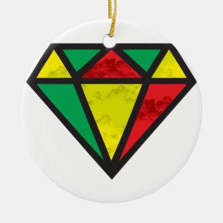Reggae Diamond Round Ceramic Ornament