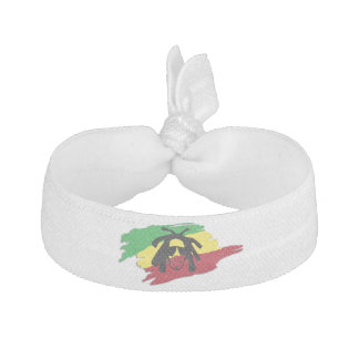 reggae flag with musician rasta man hair tie