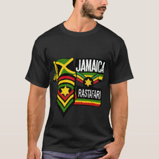 Reggae Rasta Black T-shirt Rastafarian colours