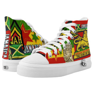 Reggae Steppers Jamaican Rasta Hi Top Shoes