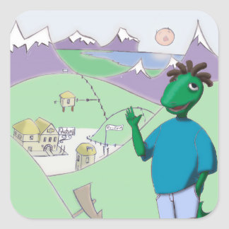 Reggie Rapasaurus can stick with you anywhere! Square Sticker