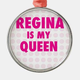 Regina is my Queen Silver-Colored Round Ornament