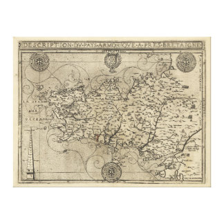 Regional Map Brittany and Armorica France (1594) Gallery Wrapped Canvas