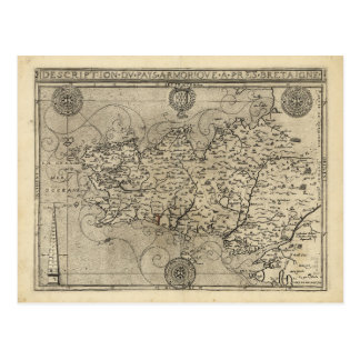 Regional Map Brittany and Armorica France (1594) Postcard