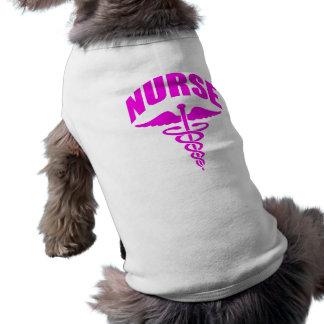 Register Nurse Caduceus Fuscia Doggie Tshirt