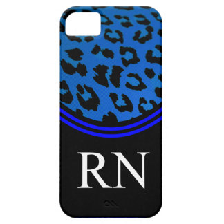 Registere Nurse iPhone 5 Case Blue Leopard Design