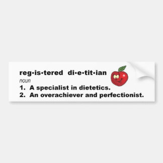 Registered Dietitian Definition Bumper Sticker