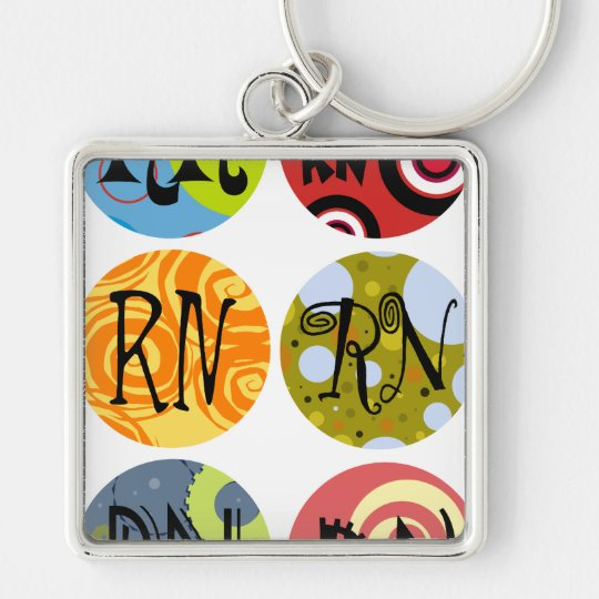 Registered Nurse Announcement Silver-Colored Square Keychain