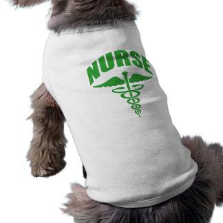 Registered Nurse Caduceus Green Pet Tshirt