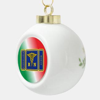 REGISTERED NURSE Caduceus Shield Ceramic Ball Christmas Ornament