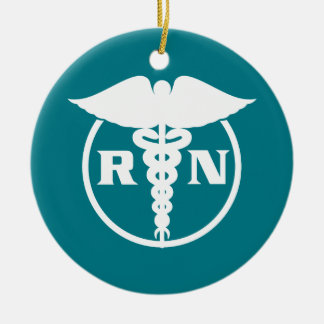 Registered Nurse Emblem Round Ceramic Ornament