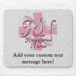 Registered Nurse, Pink Cross Swirls Mousepad