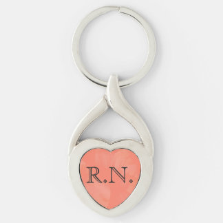 Registered Nurse R.N. silver heart keychain