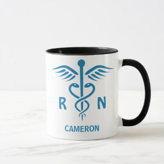 Registered nurse RN blue caduceus personalized Mug