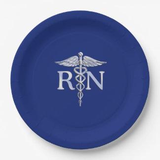 Registered Nurse RN Caduceus Design 9 Inch Paper Plate