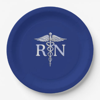 Registered Nurse RN Caduceus Design Paper Plate