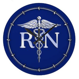 Registered Nurse RN Caduceus on Blue Decor Clocks