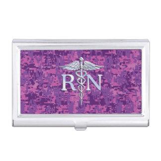 Registered Nurse RN Caduceus on Fuchsia Camo Business Card Holder