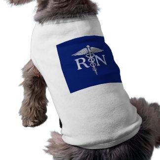 Registered Nurse RN Caduceus on Navy Blue Pet Tee Shirt