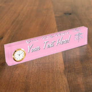 Registered Nurse RN Caduceus on Pastel Pink Name Plate
