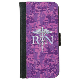 Registered Nurse RN Caduceus on Pink Camo iPhone 6 Wallet Case