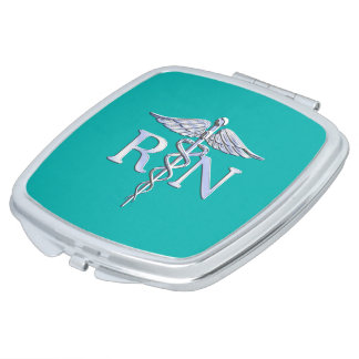 Registered Nurse RN Caduceus on Turquoise Decor Makeup Mirror