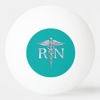 Registered Nurse RN Caduceus on Turquoise Decor Ping Pong Ball