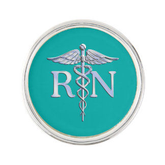 Registered Nurse RN Caduceus on Turquoise Lapel Pin