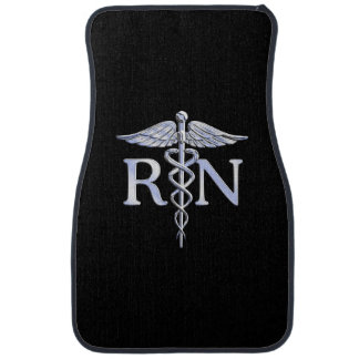 Registered Nurse RN Caduceus Snakes Solid Black Car Mat