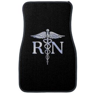 Registered Nurse RN Caduceus Snakes Solid Black Floor Mat