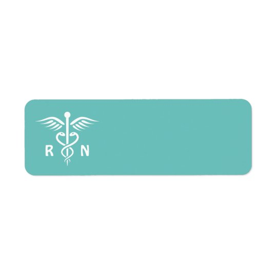 Registered nurse RN caduceus symbol on aqua blank