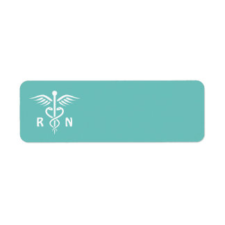 Registered nurse RN caduceus symbol on aqua blank Return Address Label