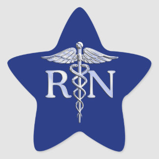 Registered Nurse RN Silver Caduceus Navy Blue deco Star Sticker