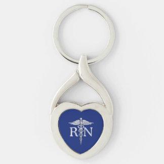 Registered Nurse RN Silver Caduceus on Navy Blue Keychain
