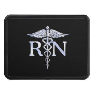 Registered Nurse RN Silver Caduceus Snakes Black Trailer Hitch Cover