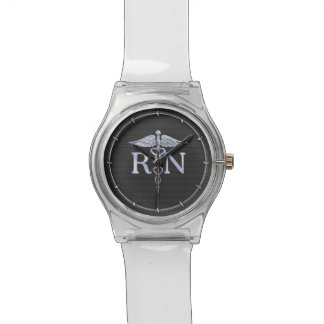 Registered Nurse RN Silver Caduceus Snakes Watch