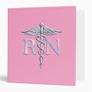 Registered Nurse Silver Caduceus Light Pink Decor 3 Ring Binders