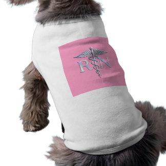 Registered Nurse Silver Caduceus Light Pink Decor Dog Tee Shirt
