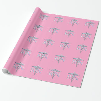 Registered Nurse Silver Caduceus Light Pink Decor Wrapping Paper