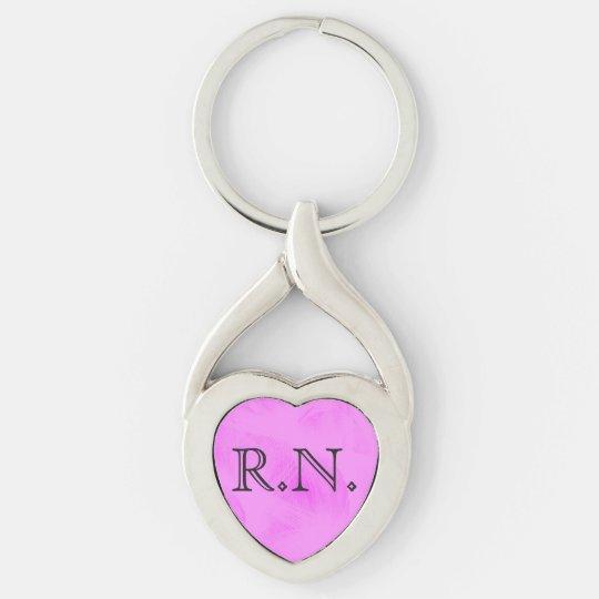 Registered Nurse silver heart keychain