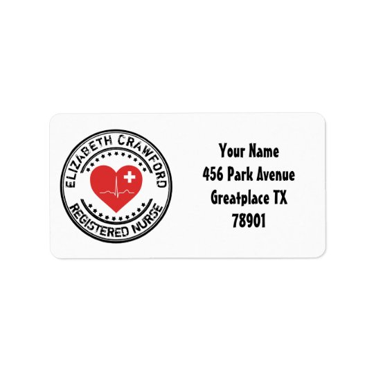 Registered Nurse Stamp Heart ECG With Your Name