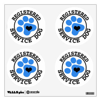 Registered Service Dog Blue Paw Wall Sticker