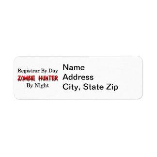 Registrar/Zombie Hunter Return Address Label